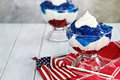 Gelatin dessert for fourth of july layered cubes red and blue jello with white fluffy whipped cream the holiday shallow Stock Image