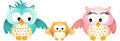Gelukkig owl family Royalty-vrije Stock Fotografie