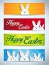 Gelukkig pasen konijn bunny set van banners Stock Fotografie