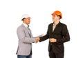 Gelukkige cliënt en ingenieur shaking hands Stock Afbeeldingen