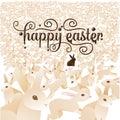 Gelukkige pasen met menigte van konijntjes Stock Afbeelding