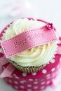 Gelukkige verjaardag cupcake Stock Afbeeldingen