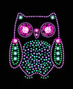 Gem owl made of colored gems Royalty Free Stock Image