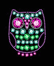 Gem owl made of colored gems Stock Image