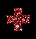 Gem red cross made of gems Stock Image