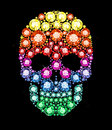Gem skull made of colored gems Royalty Free Stock Images