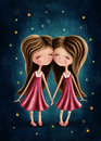 Gemini astrological sign girls Royalty Free Stock Photo