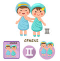 Gemini vector collection. zodiac signs Royalty Free Stock Photo
