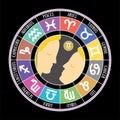 Gemini zodiac sign. Aquarius, libra, leo, taurus, cancer, pisces, virgo, capricorn, sagittarius, aries, scorpio. Astrological Royalty Free Stock Photo