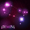 Gemini zodiac sign of the beautiful bright stars on background cosmic sky Stock Image