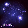 Gemini zodiac sign of the beautiful bright stars on background cosmic sky Royalty Free Stock Photo