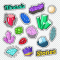 Gems Stickers, Badges and Patches. Jewelry Stones Doodle with Diamond, Crystal and Minerals