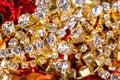 Gems and treasures shiny background Stock Photo