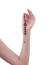 Gemstone bead bracelet with chinese alphabet Royalty Free Stock Photo