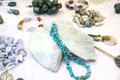 Gemstones into necklaces and bracelets Royalty Free Stock Photo