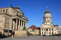 Gendarmenmarkt berlin in the morning french cathedral konzerthaus sunlight Royalty Free Stock Photo