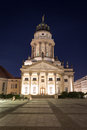 Gendarmenmarkt, berlin at night - french cathedral Royalty Free Stock Photo
