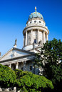 The gendarmenmarkt french cathedral in berlin sunny blue sky Stock Images