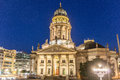 The Gendarmenmarkt at night in Berlin, Germany. Royalty Free Stock Photo