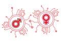 Gender Icon Circuit Royalty Free Stock Photo