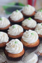 Gender neutral cupcakes for reveal party flavored like margaritas with cream cheese frosting and colored frosting filling Royalty Free Stock Image