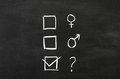 Gender s checkbox es with selection draw on blackboard Royalty Free Stock Photo