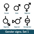 Gender signs drawn with brush. LGBT icons for sex diversity and equality of human rights