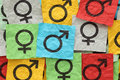 Gender symbols crumpled colorful paper notes with Royalty Free Stock Images