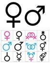 Gender Symbols, linear black, blue and pink colour icons of gender symbols. Male, female and transgender symbols Royalty Free Stock Photo