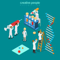 Gene engineering chemical pharmaceutics flat isometric vector d isometry concept web illustration genetic lab micro people syringe Stock Photos