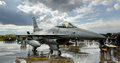 General Dynamics F-16 jet during static display Royalty Free Stock Photo