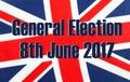 General Election 8th June 2017 on UK flag.
