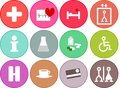 General flat medical health icons for hospital