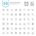 General and Office Icon Set. 50 Line Vector Icons. Royalty Free Stock Photo