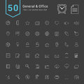General and Office Icon Set. 50 Thin Line Vector Icons. Royalty Free Stock Photo