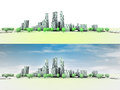 General panoramic cityscape view with trees illustration Royalty Free Stock Images