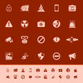 General useful color icons on red background gray stock Stock Photo