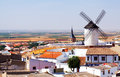 General view of campo de criptana with mill and church castilla la mancha spain Stock Image