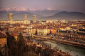 General view of grenoble in isere france with the alps mountains the distance Royalty Free Stock Photo