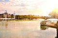 General view of the Rhone river at sunset Lyon France Royalty Free Stock Photo