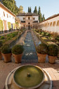 Generalife palace inner yard of in alhambra granada Stock Photography