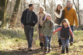 3 Generation family on country walk in winter Royalty Free Stock Photo
