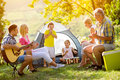 Generation family playing a guitar and singing Royalty Free Stock Photo