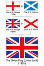 Generation of UK flag (Making of the Union Jack) Royalty Free Stock Photo