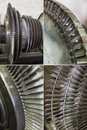 Generator rotor blades close up of one of the key parts of the generating unit set Royalty Free Stock Photo