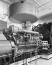Generator and silencer monochrome image of a typical diesel system is insulated located above Royalty Free Stock Photos