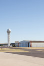 Generic airfield with hangar and control tower portrait exterior Stock Photos