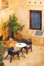 Generic cafe interior in Pyrgos village, Santorini Royalty Free Stock Photo