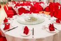 Generic Chinese wedding dinner banquet set-up with dinnerwares Royalty Free Stock Photo