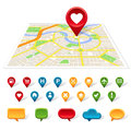 Generic city map, location and communication icons Royalty Free Stock Photo